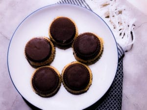 top view of double stuffed peanut butter cups on a plate