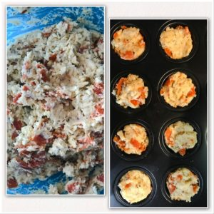 side by side view of dough in a bowl with combined ingrediants next tio a photo with the dough in the mini muffin pan