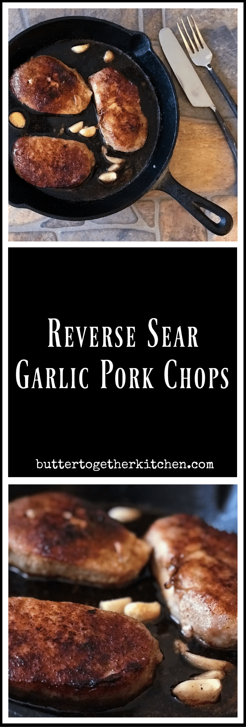 garlic seasoned pork chops long pin for Pinterest