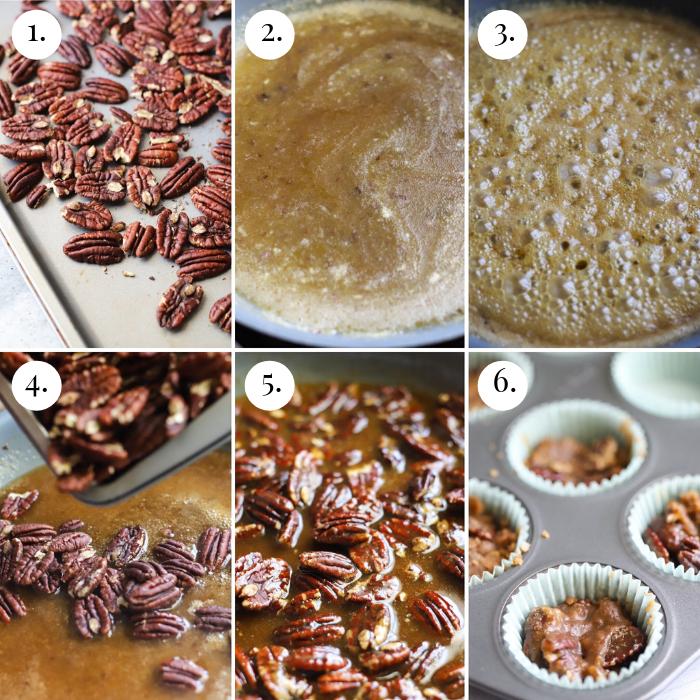 six photo collage of how to make keto pecan pralines