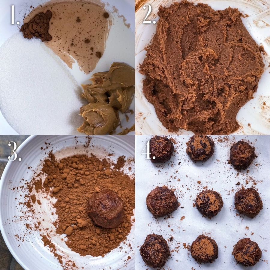 step-by-step cocoa peanut butter keto truffles