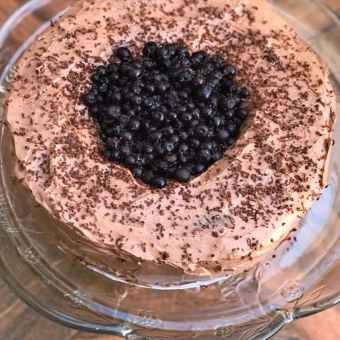 Keto Blueberry Chocolate Cake