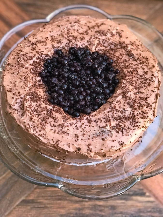 top view of keto blueberry chocolate cake