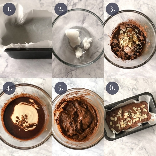 6 photo collage step by step how to make chocolate keto fudge