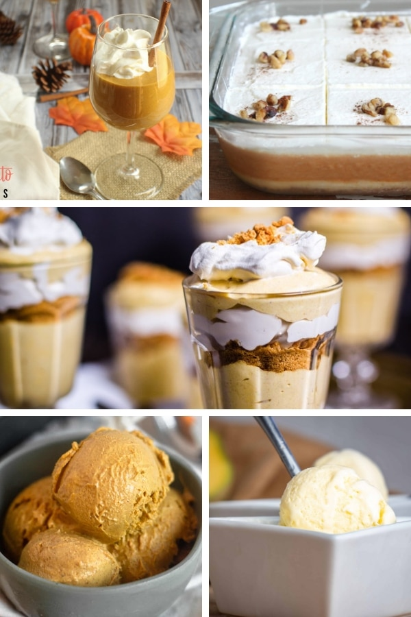 collage of 5 keto pudding and ice cream images