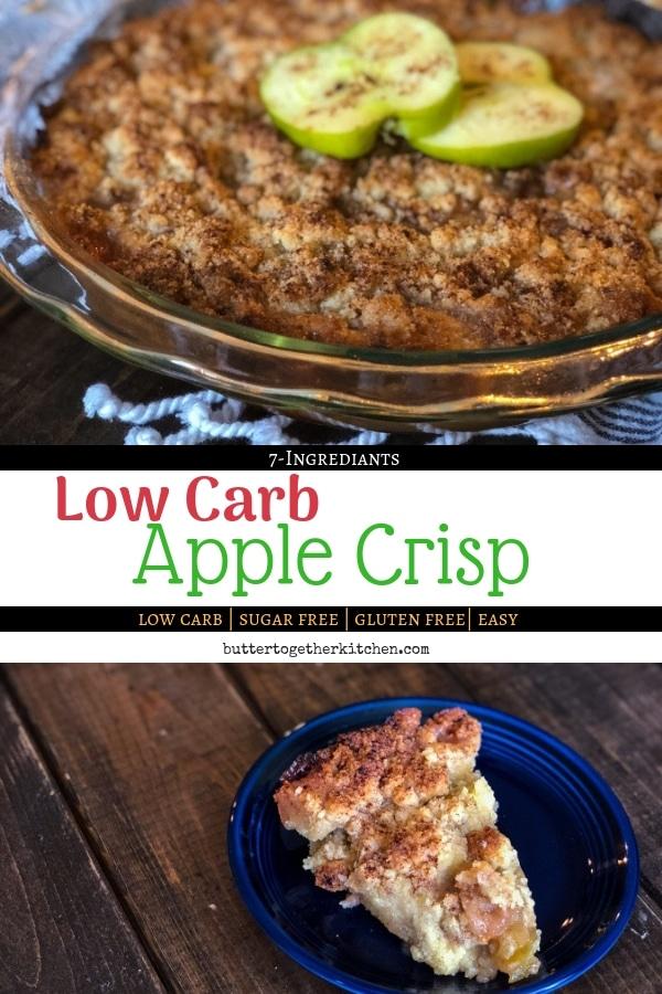 low carb apple crisp pin for pinterest