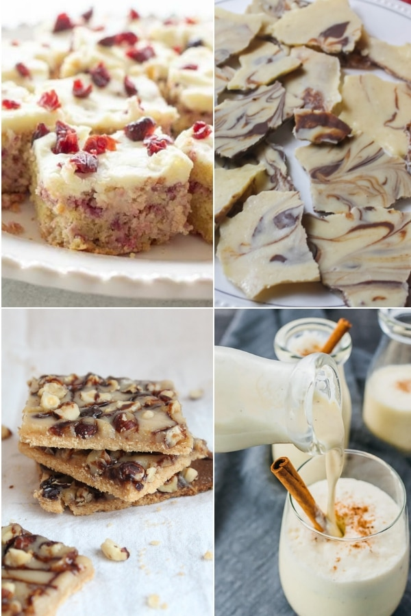 collage of keto bars and other recipes for the holidays