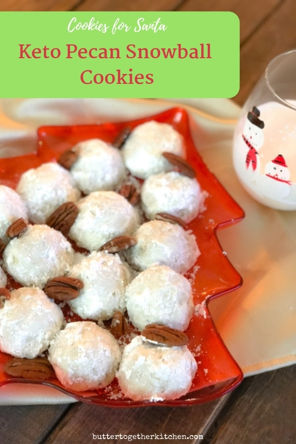 pin for pinterest keto pecan snowball cookies