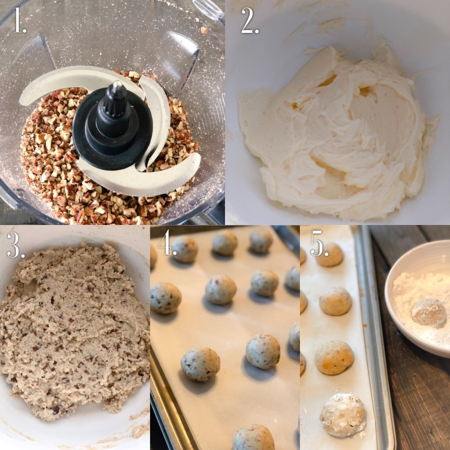 how to make keto pecan snowball cookies step by step photo collage