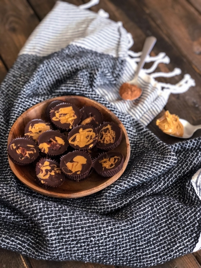 a plate of keto peanut butter fat bombs