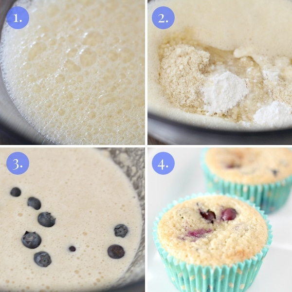 step by step collage how to make keto blueberry muffins