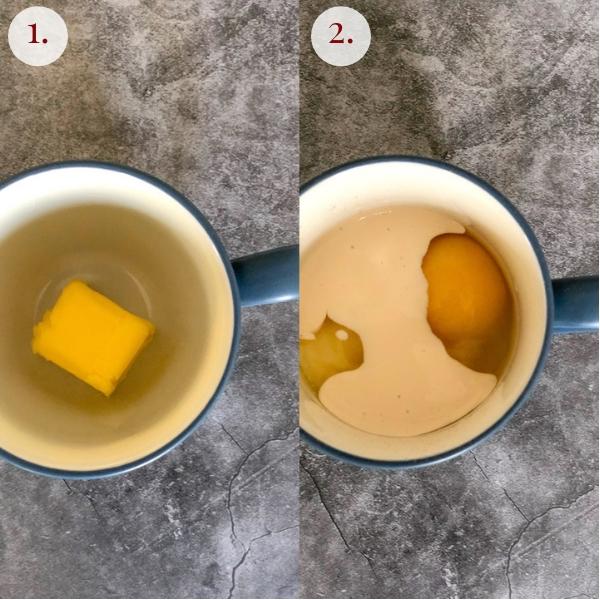 step by step two photo collage how to make chocolate keto mug cake