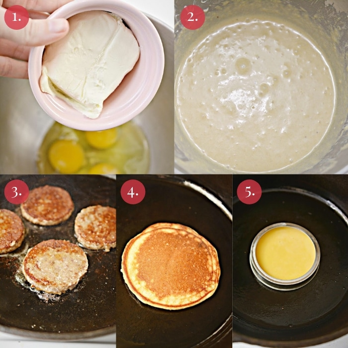 step by step collage how to make the keto McGriddle sandwiches