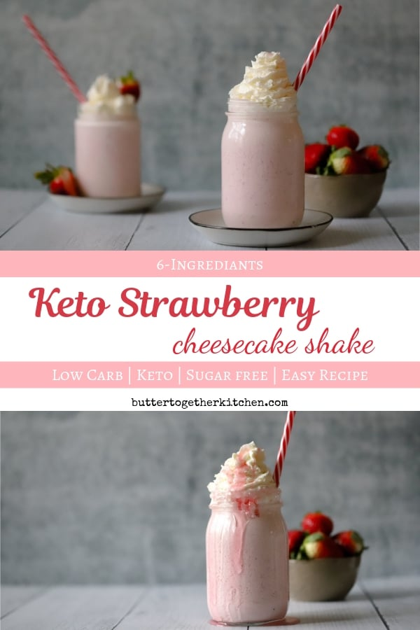 Keto Strawberry Cheesecake Shake - Creamy and Thick Milkshake #ketoshake #strawberryshake #ketodessert #ketosmoothie #strawberrycheesecake #ketosnack | buttertogetherkitchen.com