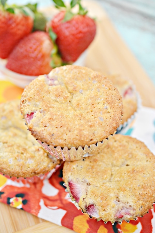close up top view of keto strawberry muffins