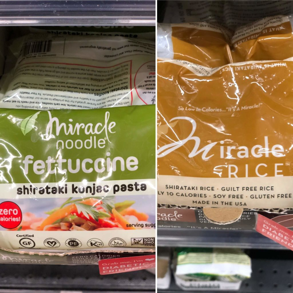 miracle noodles and miracle rice on the shelf at Whole Foods