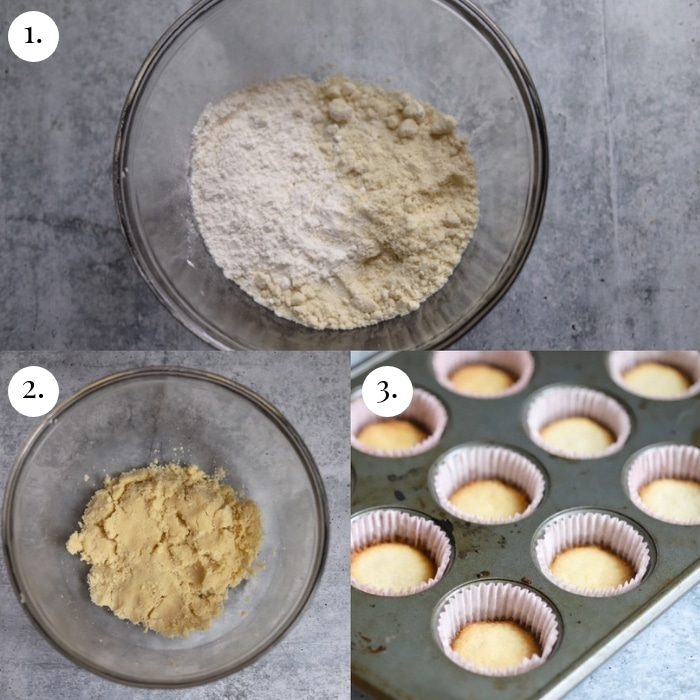 3 photo collage of how to make the crust step by step