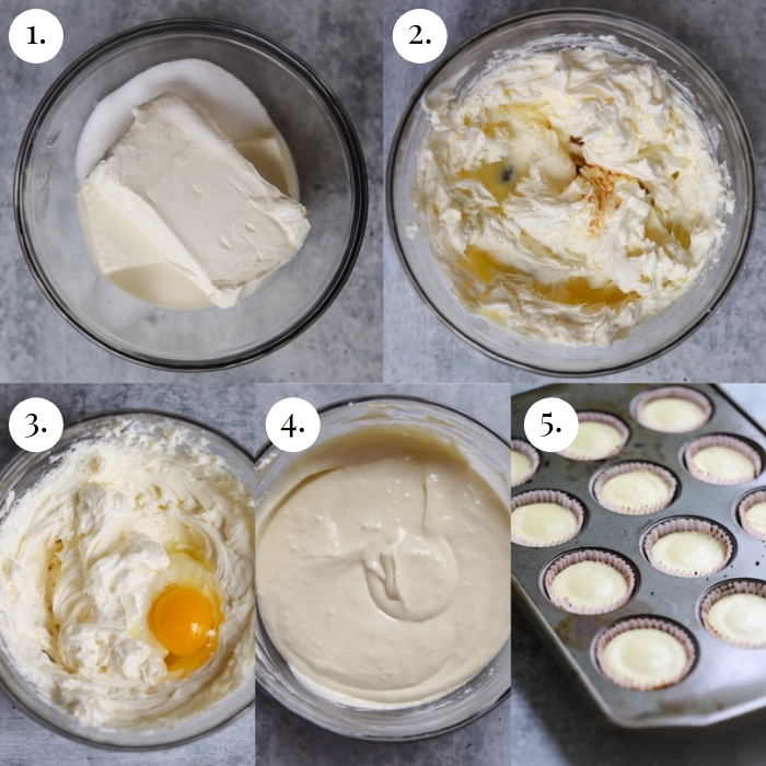 step by step 5 photo collage of how to make the filling of the cheesecake