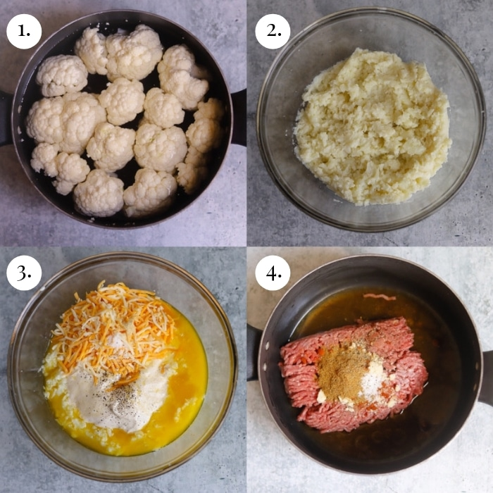 step by step four image collage of creating the papas de rellenas filling