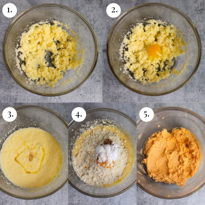 five photo collage of how to make the orange creamsicle cake