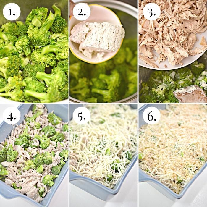 6 photo collage of the keto chicken broccoli casserole