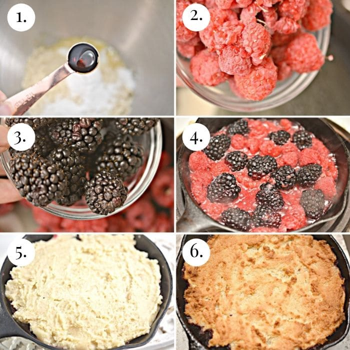 6 photo image collage of how to make keto cobbler step by step