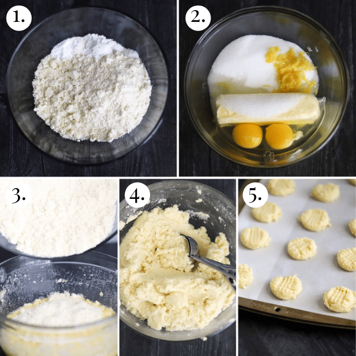 5 step by step photo collage showcasing how to make keto lemon cookies
