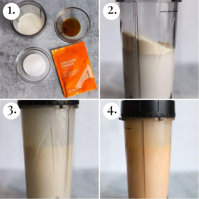four photo collage of steps to make orange creamsicle ice cream