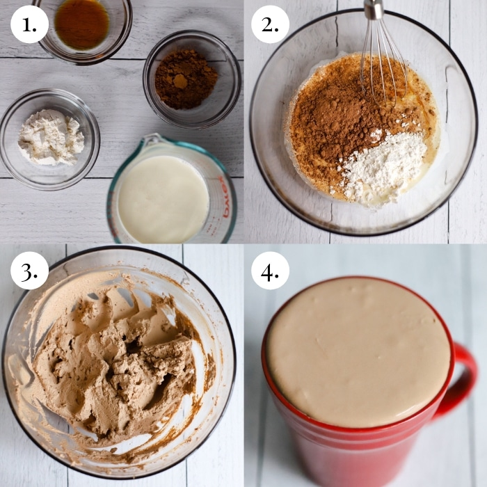 4 photo collage step by step image on how to make the keto chocolate frosty