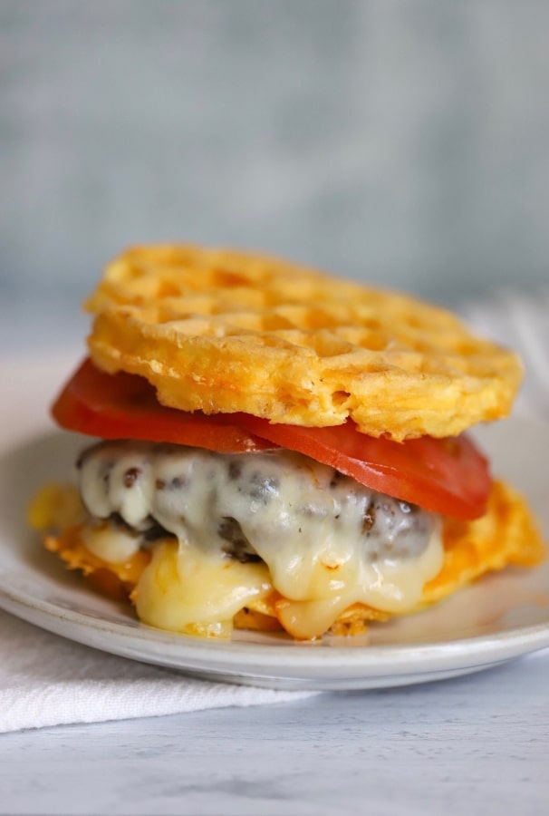 chaffle burger on a plate