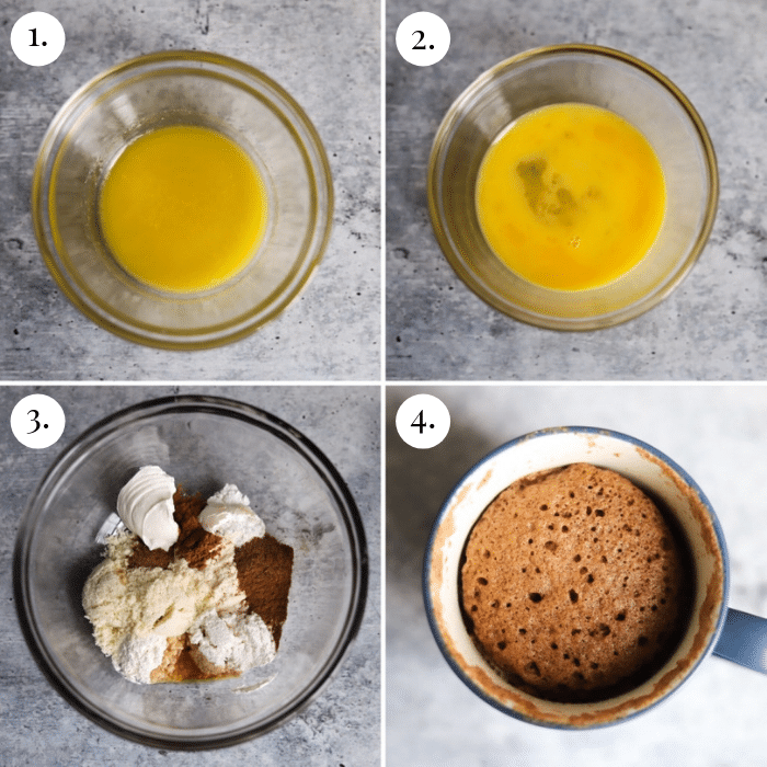 four picture collage of how to make keto pumpkin mug cakes