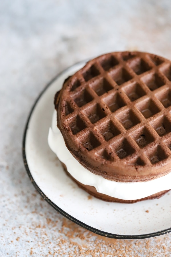 side top view of oreo chaffle on a plate