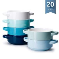 Oven Safe Bowls with Handles - 20 Ounce for Soup, Cereal, Stew, Chill, Set of 6, Cool Assorted Colors