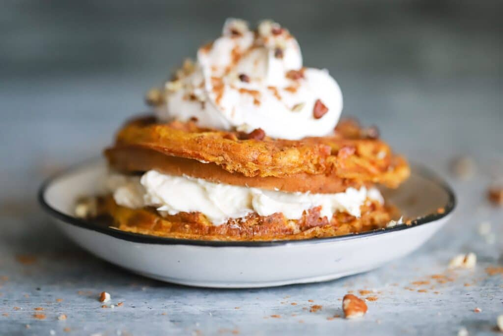 image from our keto pumpkin cheesecake chaffle recipe