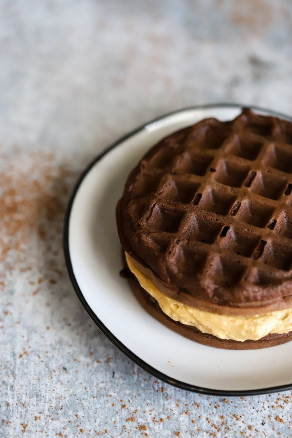 side top view of peanut butter cup chaffle on a plate