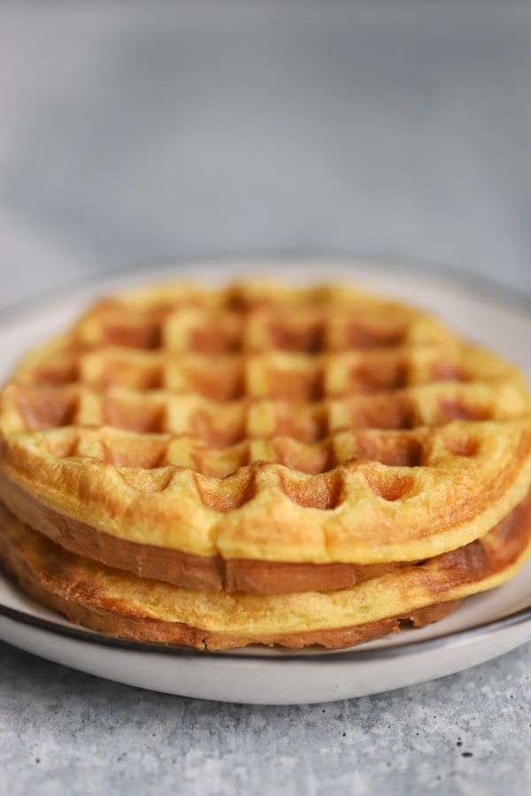 two plain sweet chaffles stacked on one another