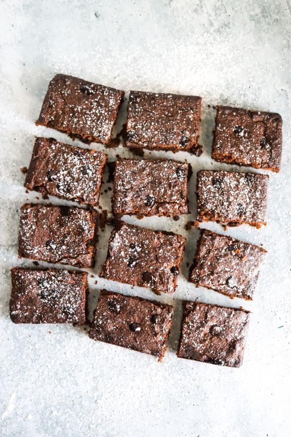 top view cut up brownies
