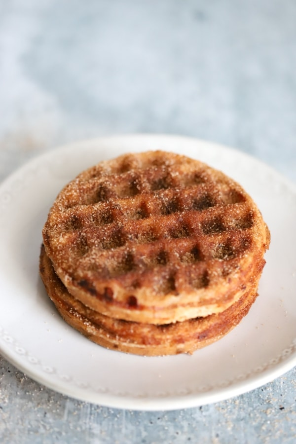 two snickerdoodle chaffle done with sweetener on top