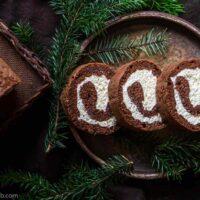 Keto Chocolate Swiss Roll Cake Recipe - Yule Log