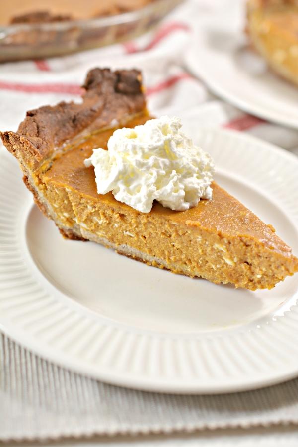 close up of a slice of keto pumpkin pie