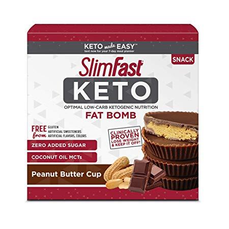 SlimFast Keto Fat Bomb Snacks, Peanut Butter Cup