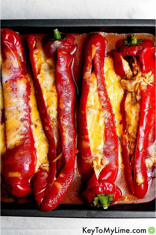 Rotisserie Chicken Enchilada Stuffed Peppers