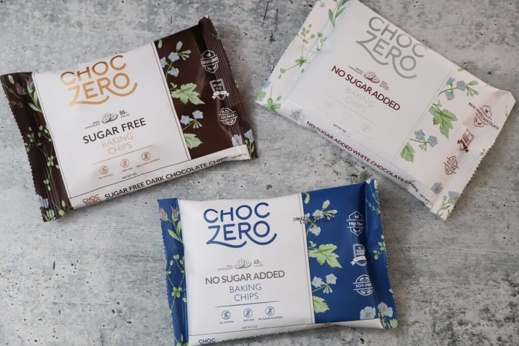 top view of three packages of choczero chocolate chips