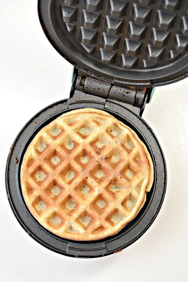 cooked chaffle in mini waffle maker