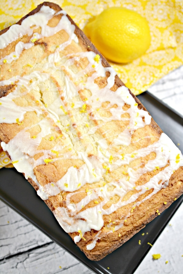 top view of keto lemon pound cake