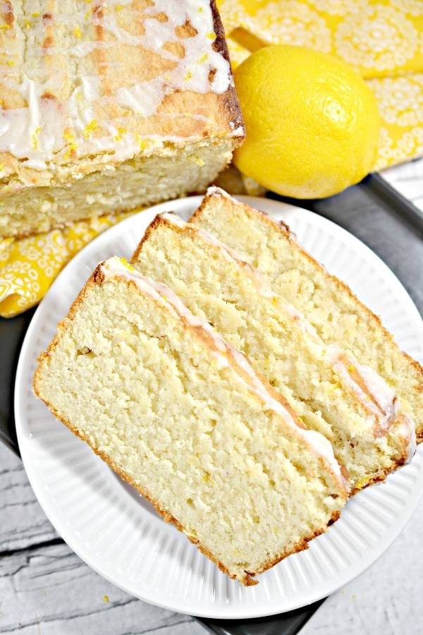 top view of keto lemon pound cake in a plate