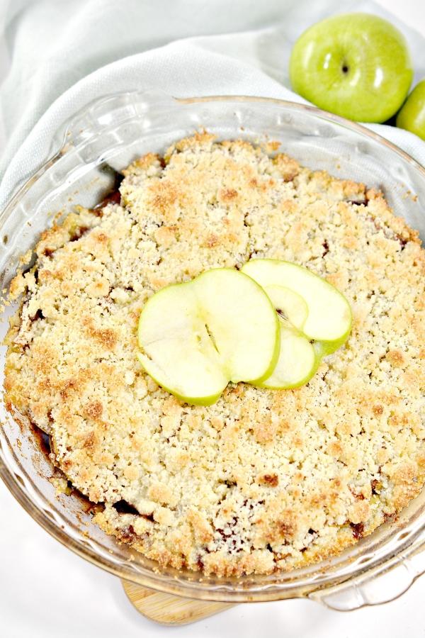 top view of apple crisp in the baking pie dish