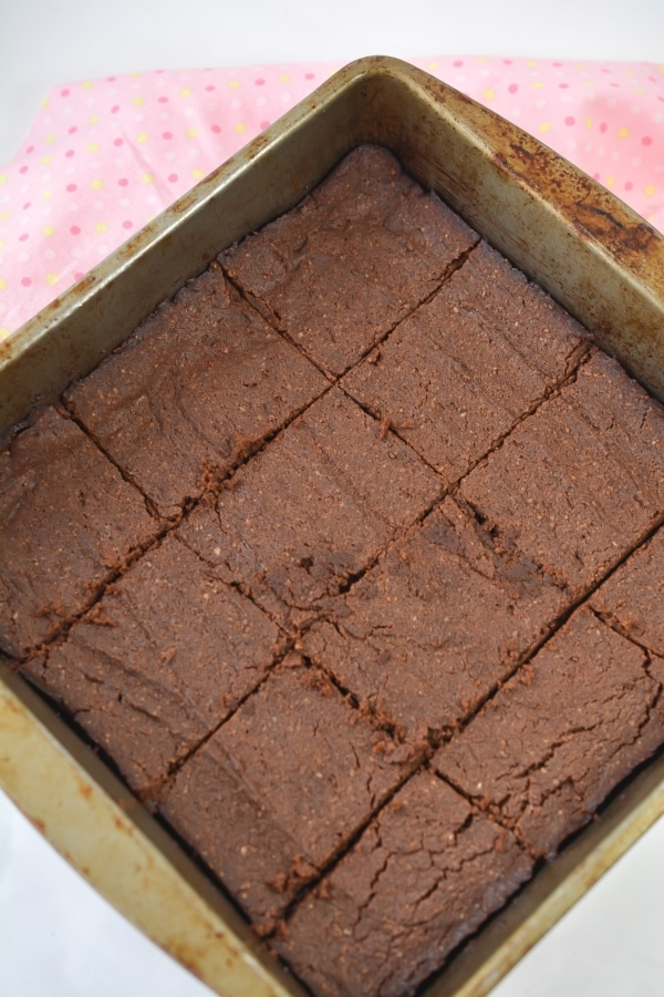 baked keto brownies cut up