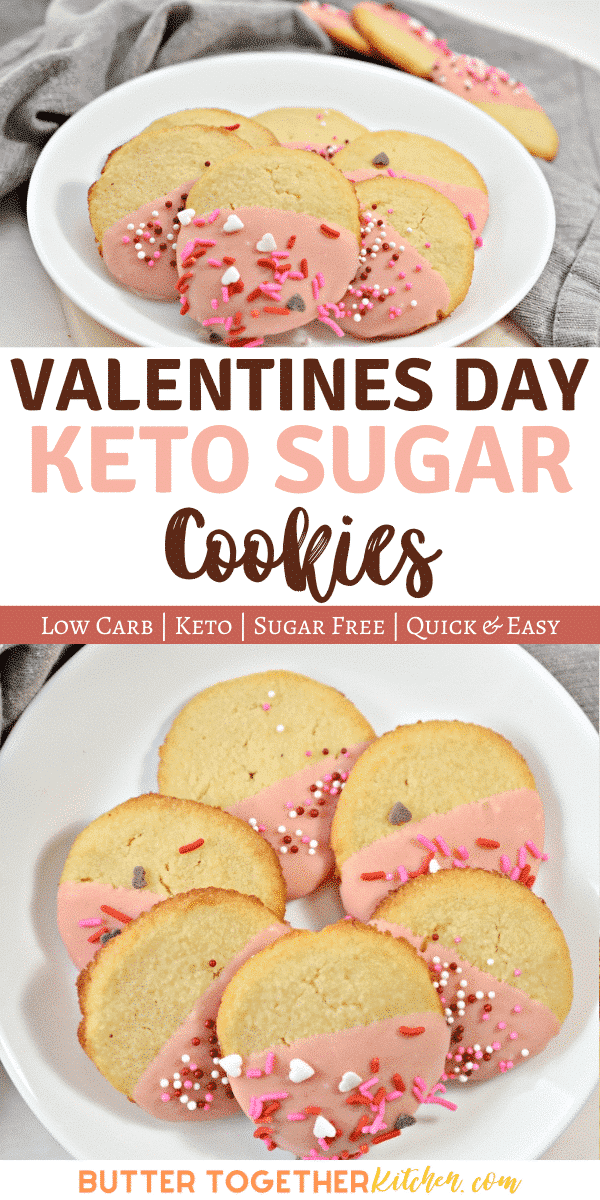 These sweet Valentines Day Keto Cookies are perfect for you and your sweetie this holiday! A delicious cookie with crunchy corners, a soft inside, and covered in chocolate is the Valentines Day gift that everyone wants! #valentinesdayketocookie #vdayketocookies #valentinesdaycookies #dessertketocookies #valentinesketodessert