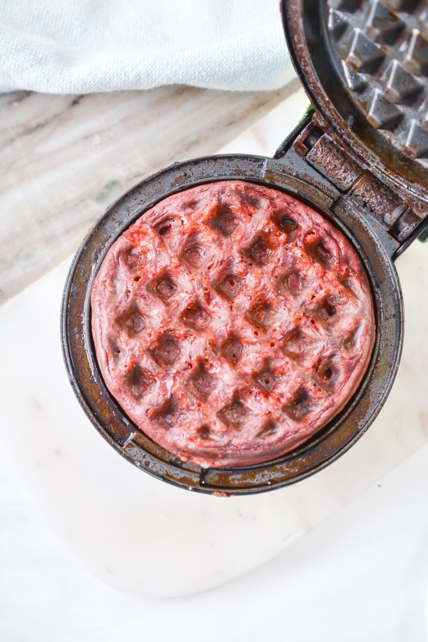 cooked chaffle in a mini waffle maker